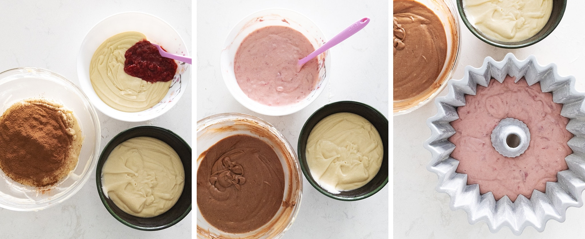 Mixing strawberry, chocolate, and vanilla flavours in separate bowls