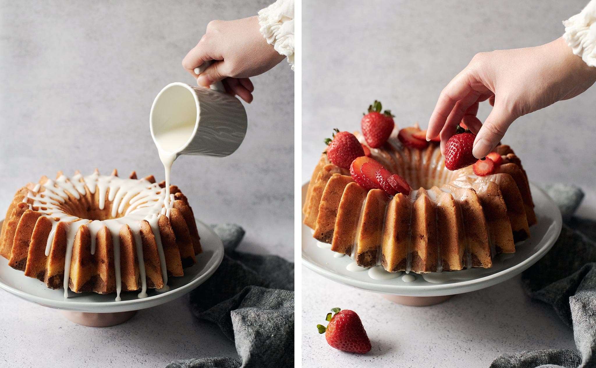 Pouring glaze and putting strawberries on bundt cake