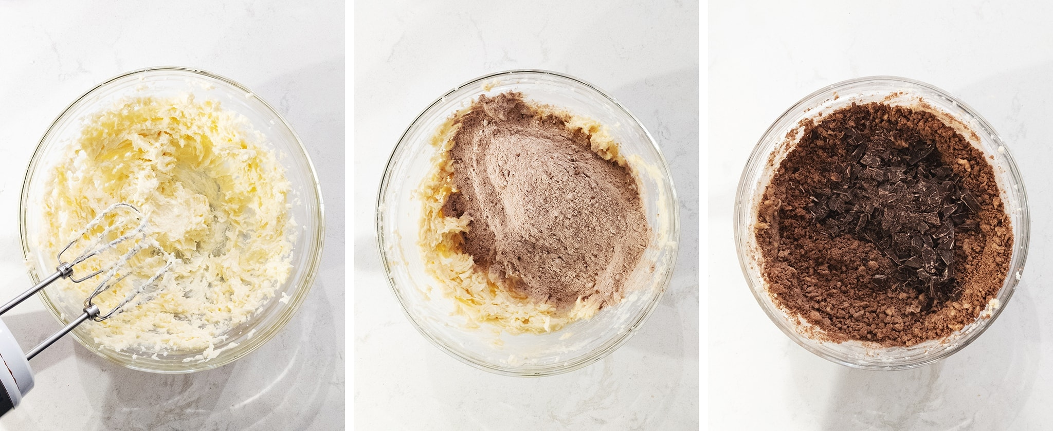 Mixing chocolate cookie dough in a bowl