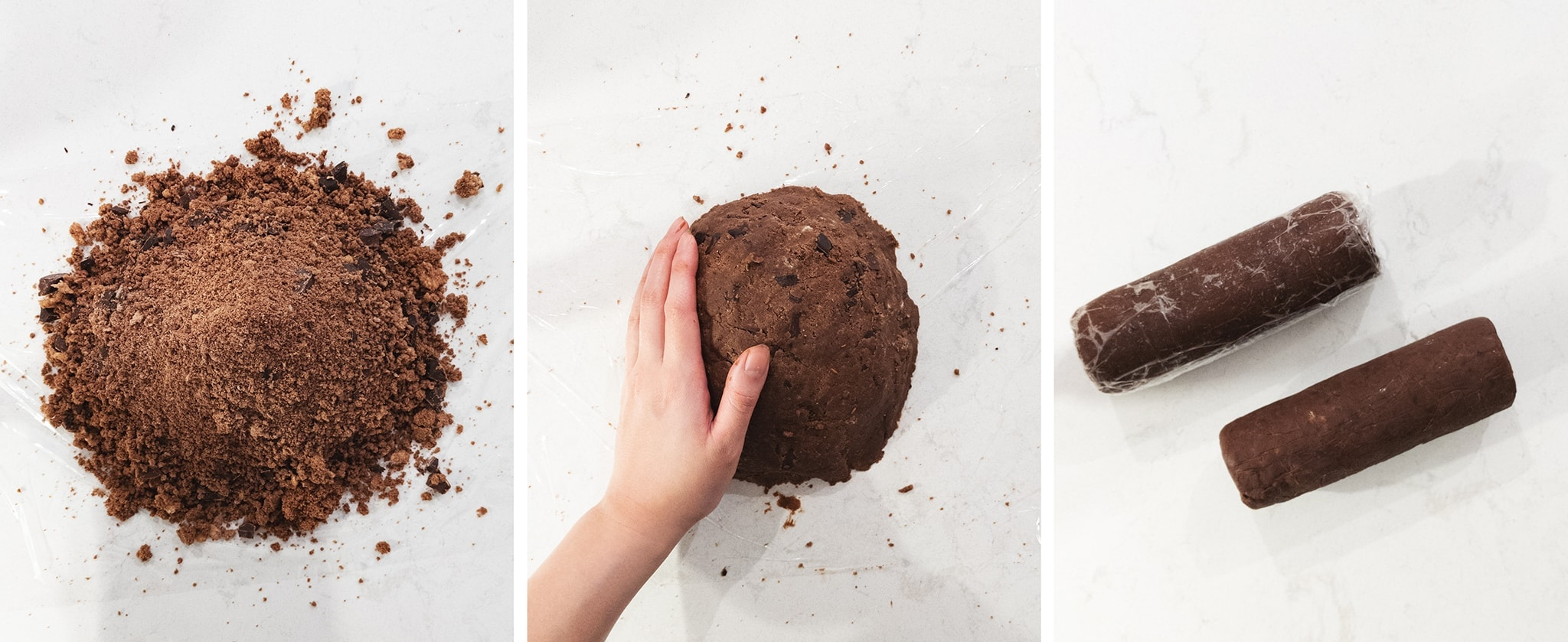 Pressing chocolate cookie dough together into logs