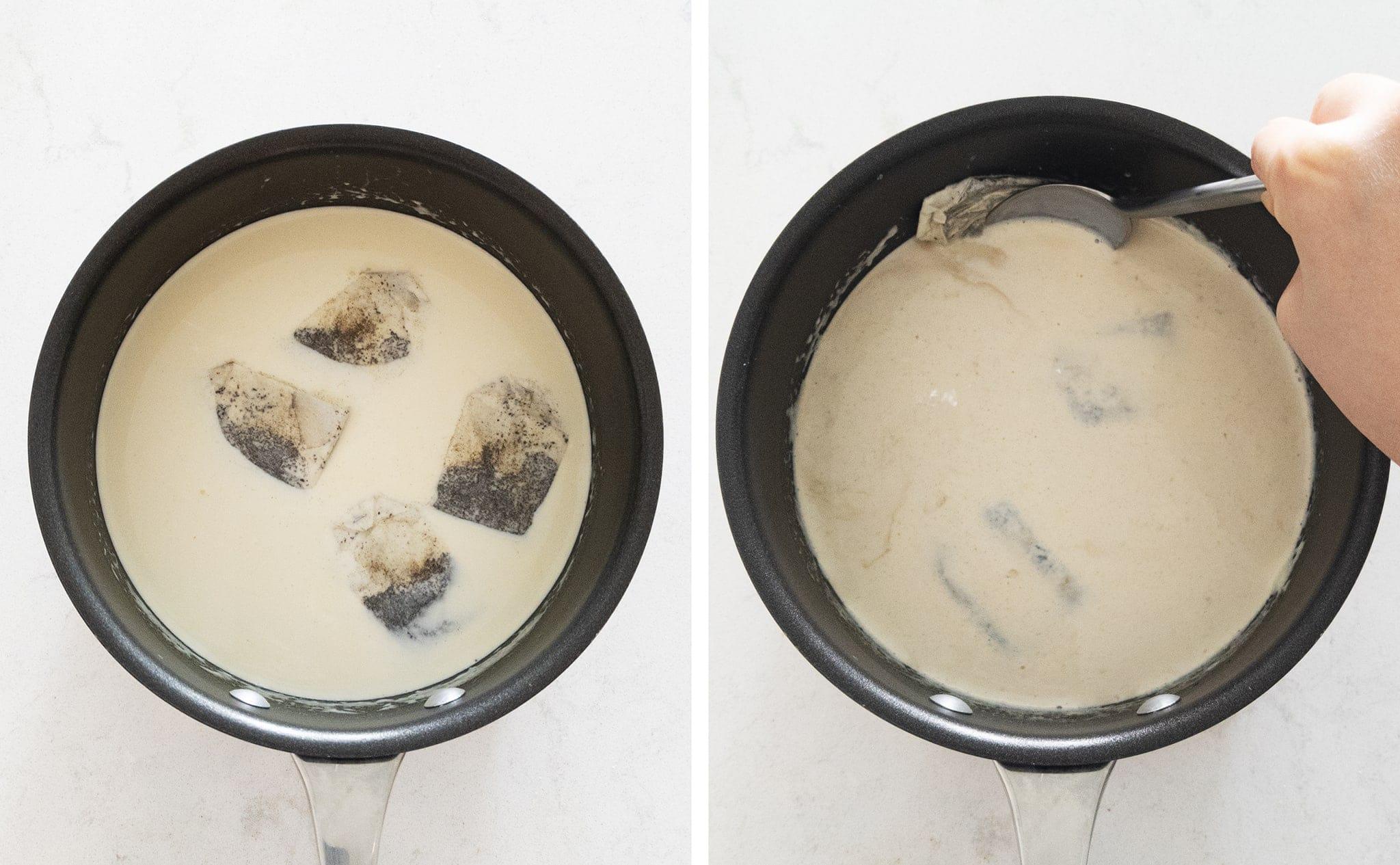 steeping milk with tea bags