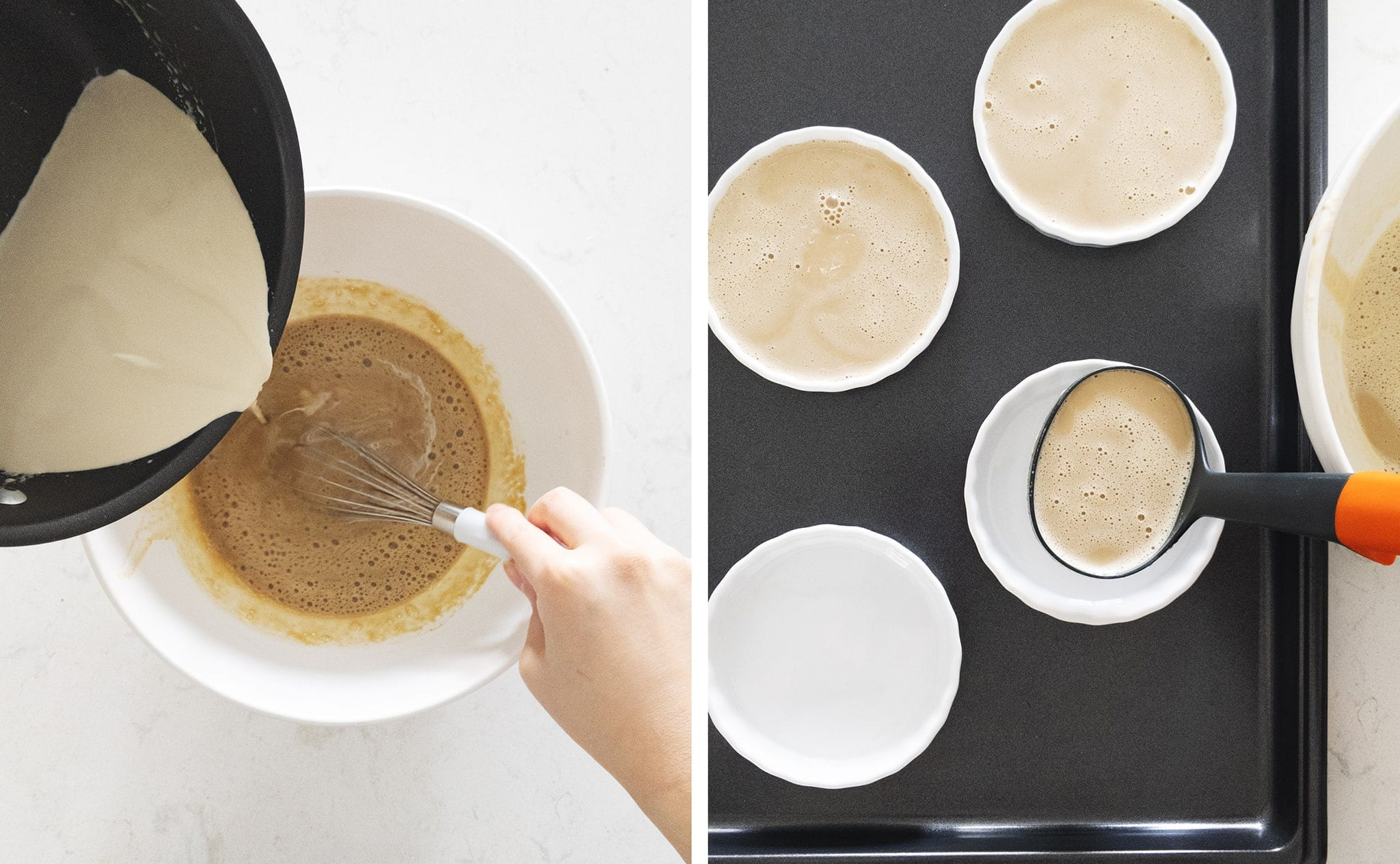 pouring milk tea custard into ramekins