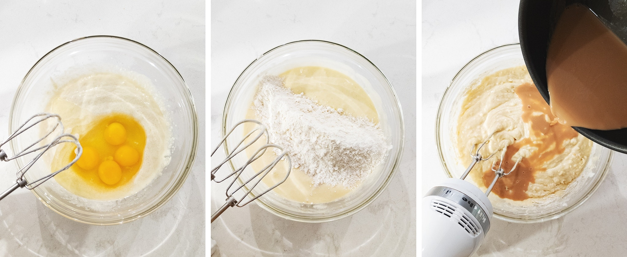 mixing cake batter in a bowl