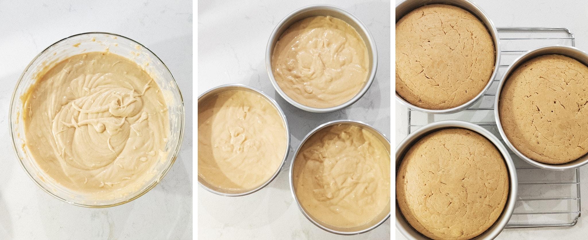 cake batter in three cake pans