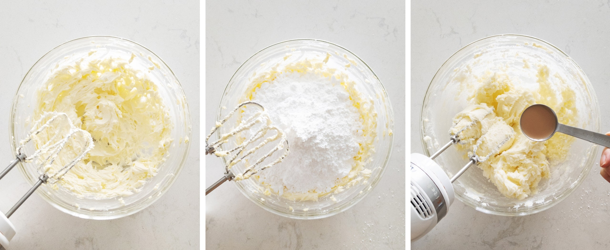 mixing buttercream in a bowl