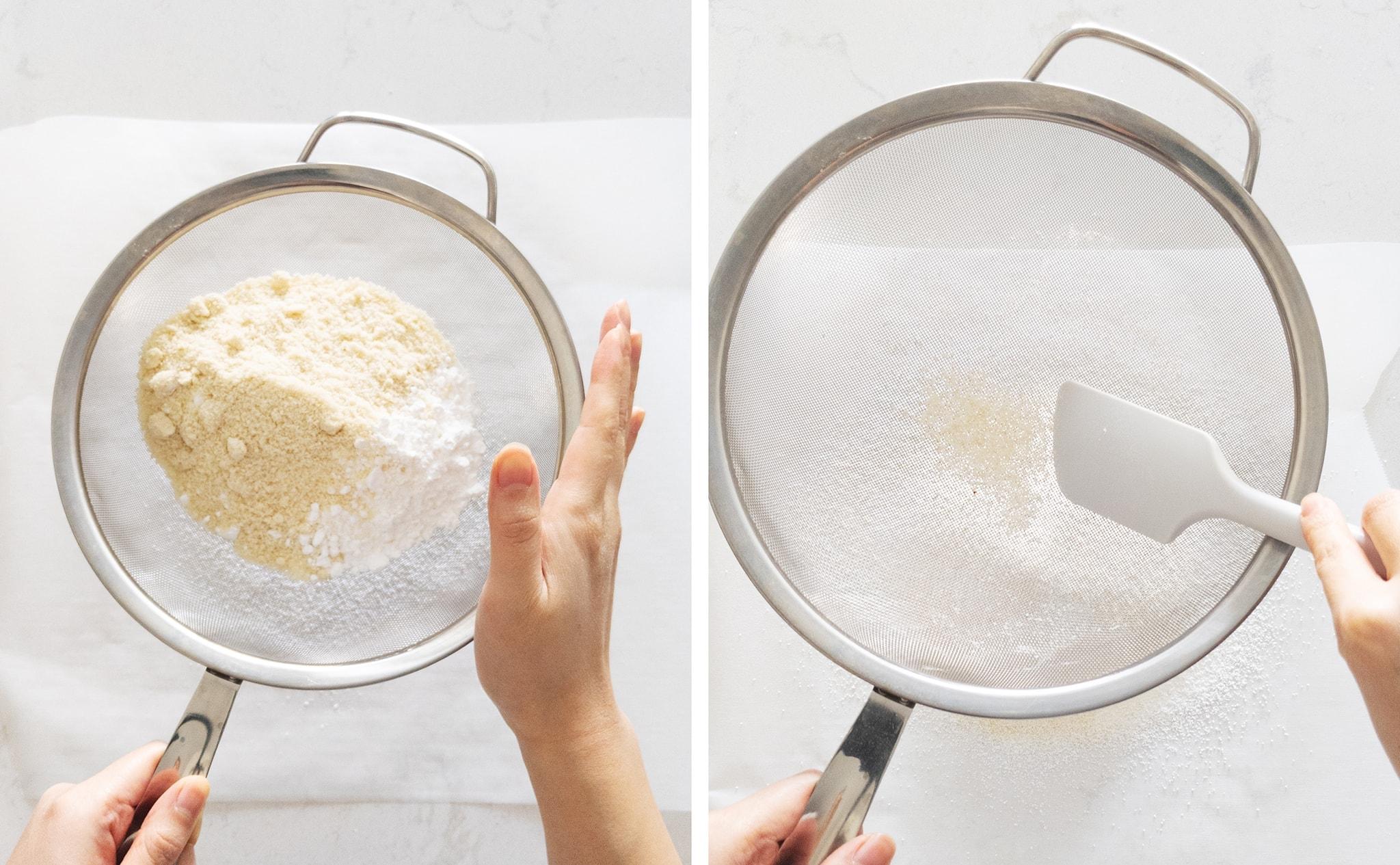 sifting almond flour through a sieve