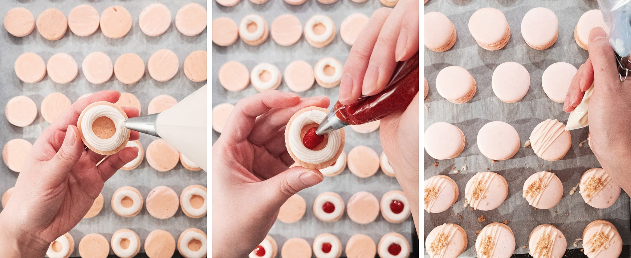 piping filling onto macaron shells