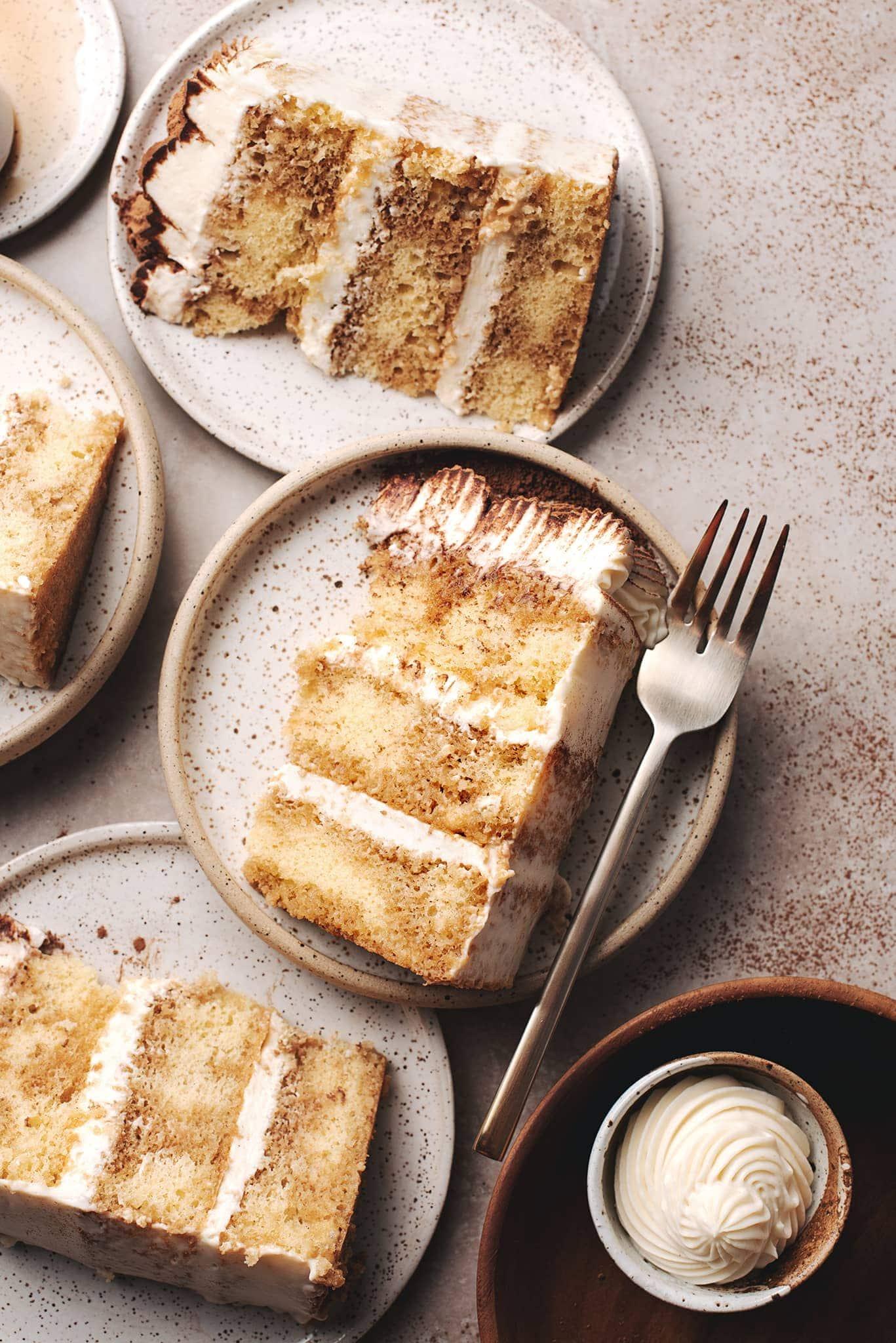 Tiramisu cake layers on small plates