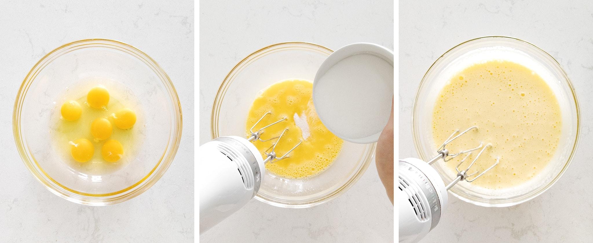 Mixing eggs for cake batter