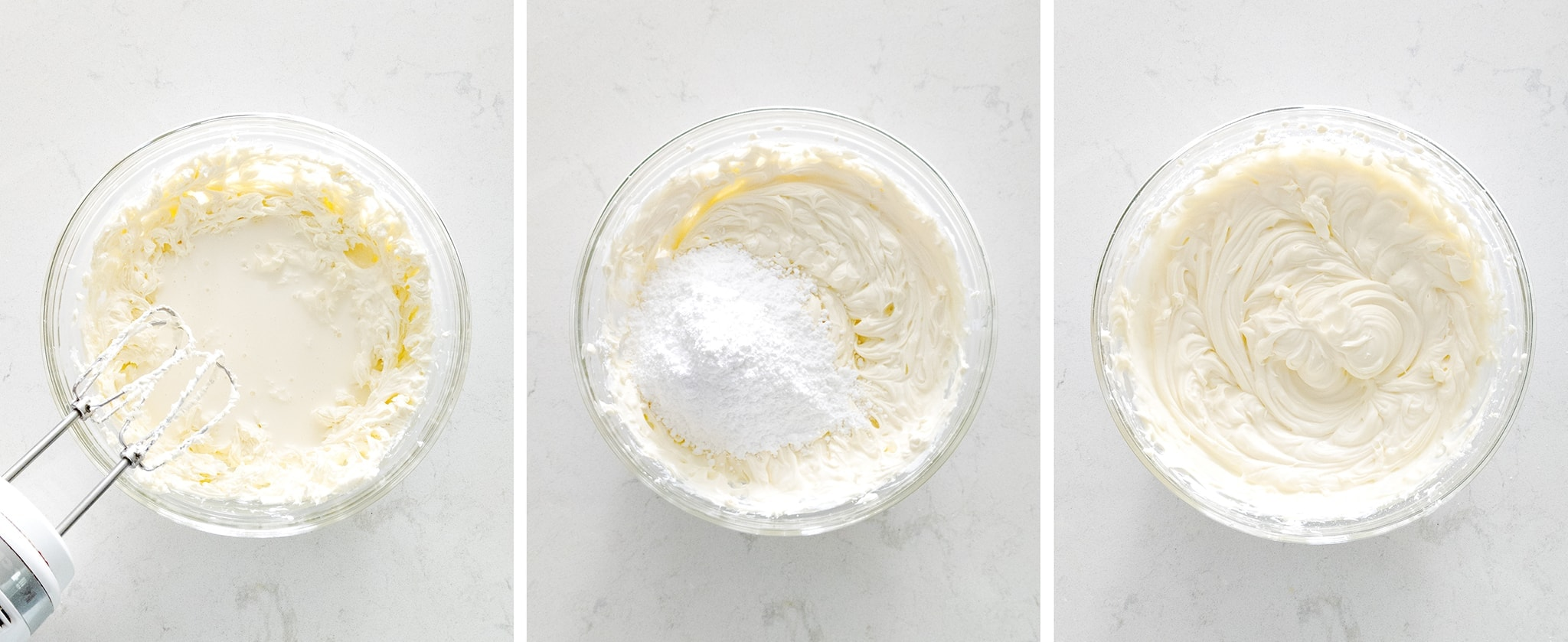 Mixing cream cheese frosting in a bowl