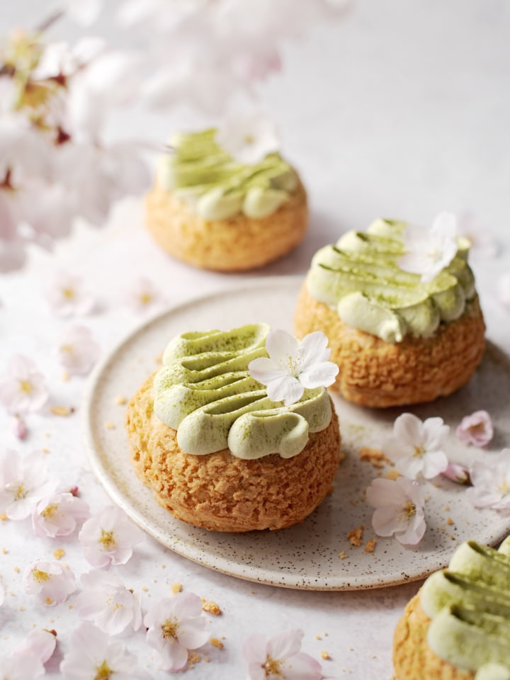Matcha cream puffs surrounded by cherry blossoms