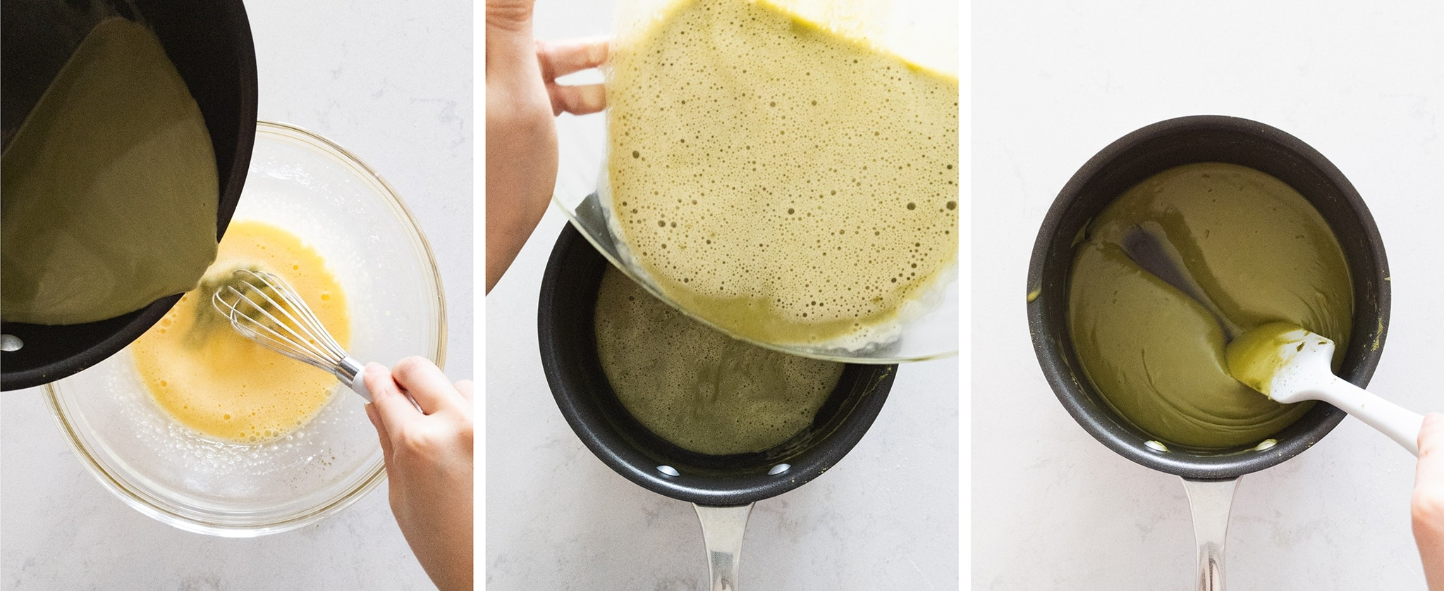 Making matcha pastry cream in a pot