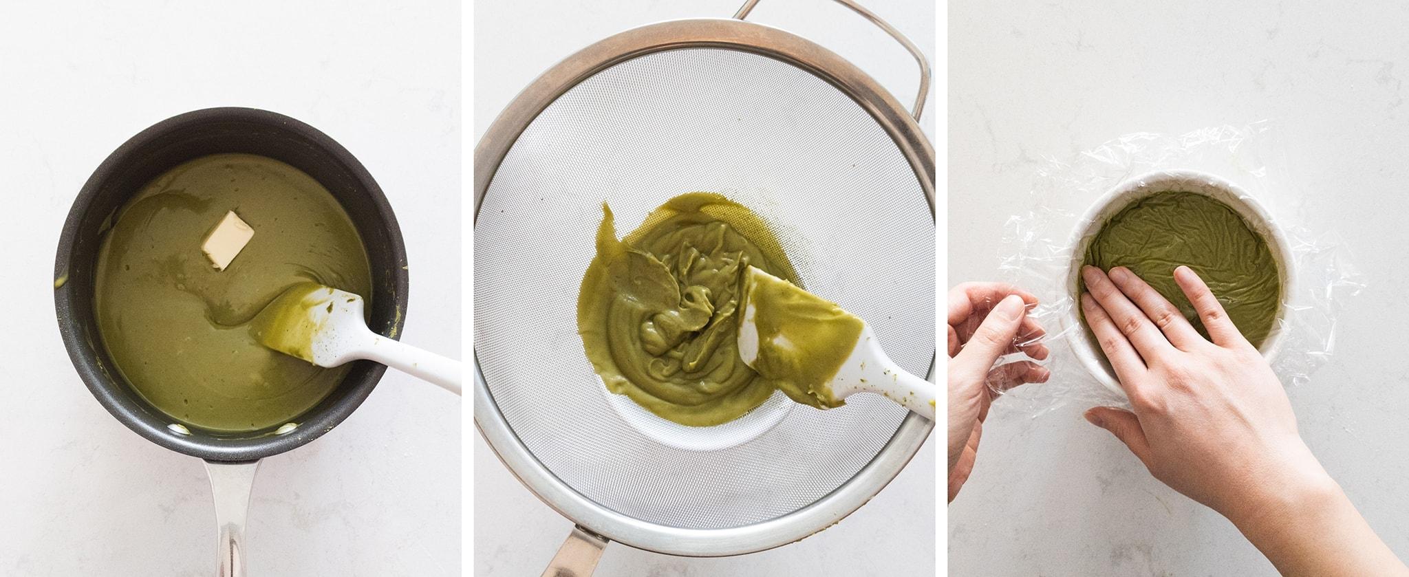 Pushing matcha pastry cream through a sieve