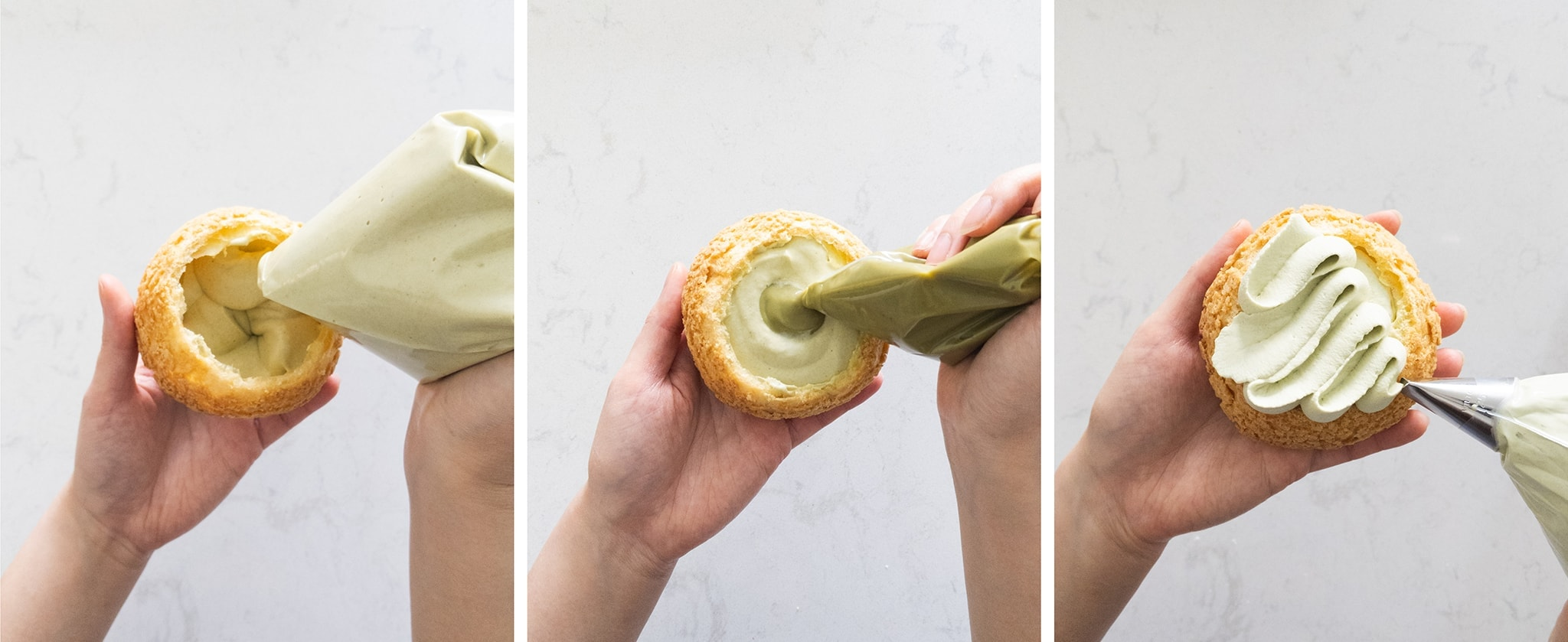 Piping matcha diplomat cream and pastry cream into choux