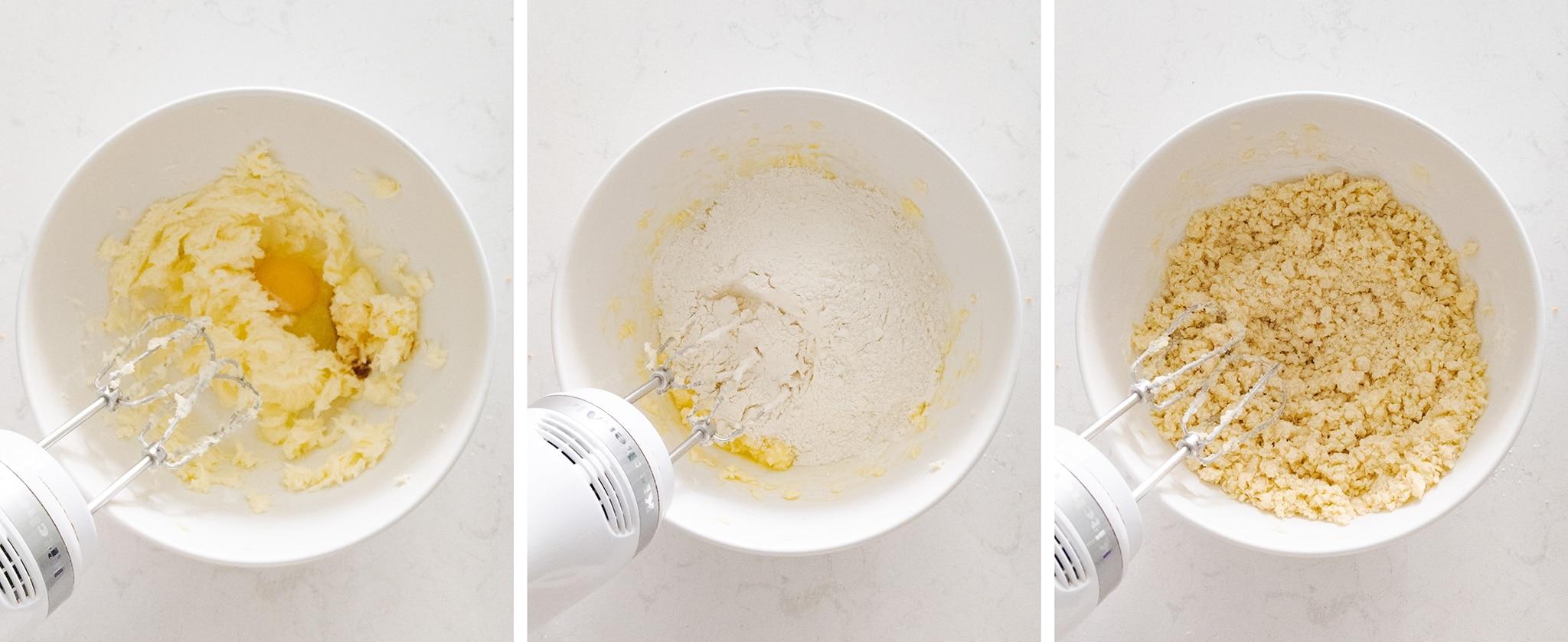 Mixing shortcrust dough in a bowl