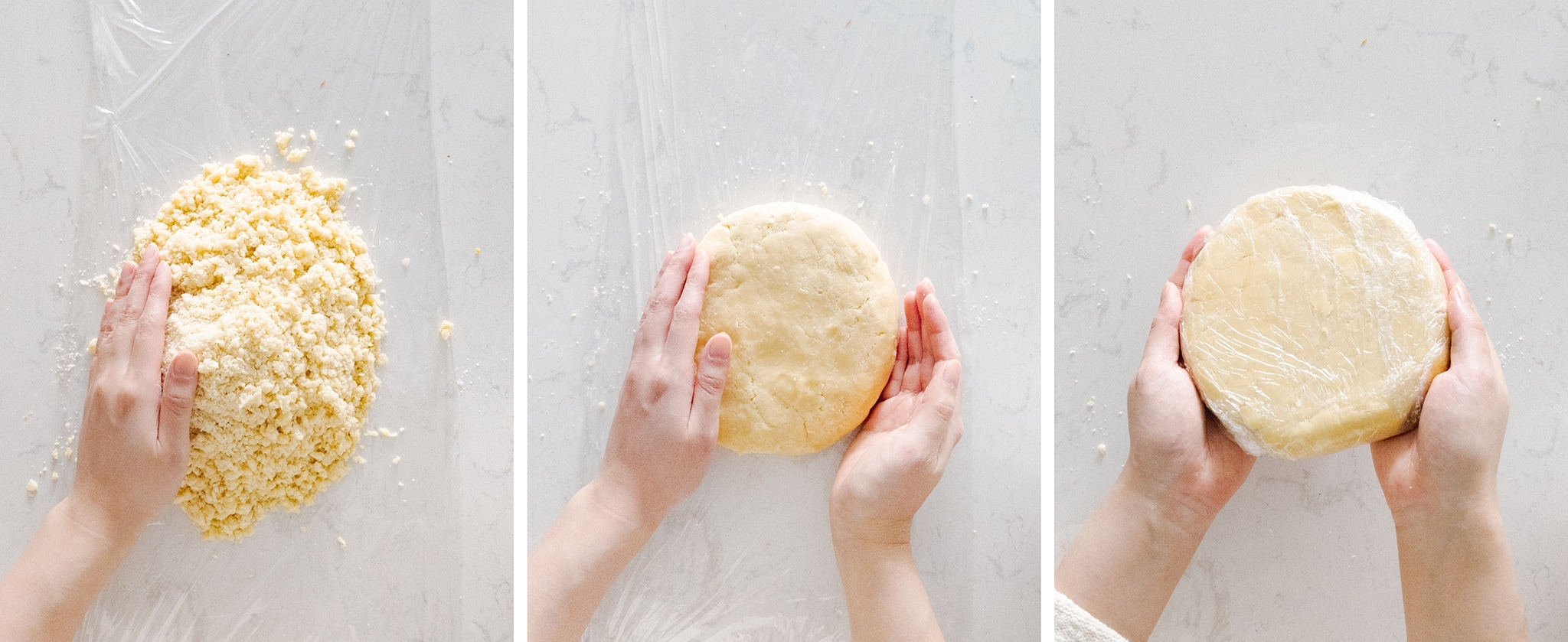 Pressing dough into a disc with hands