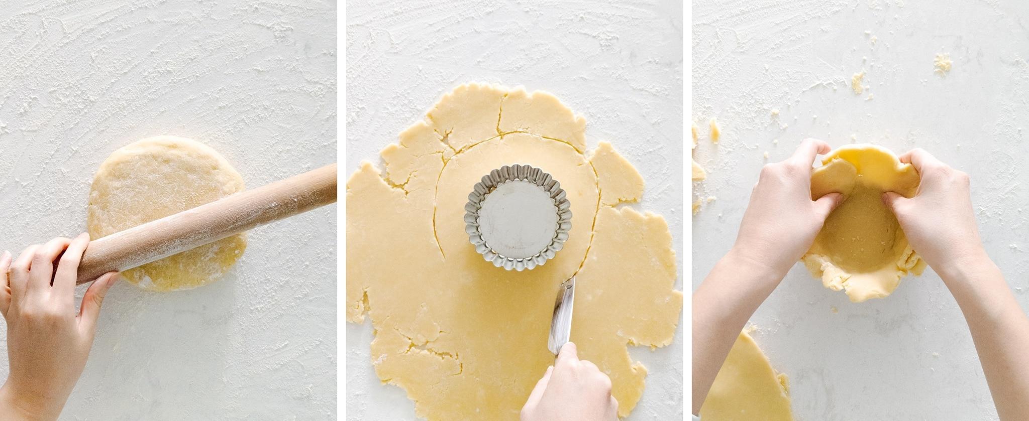 Rolling shortcrust dough for mini tart shells