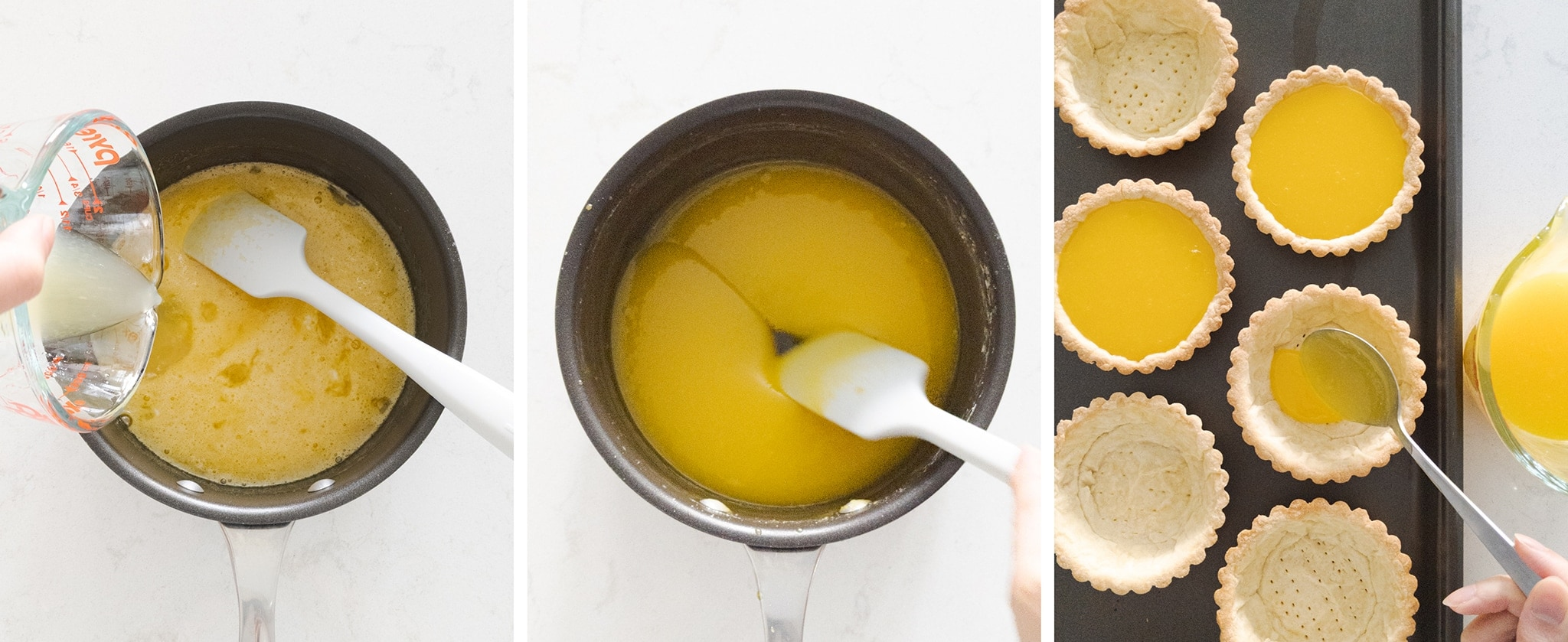 Making and filling tarts with lemon filling