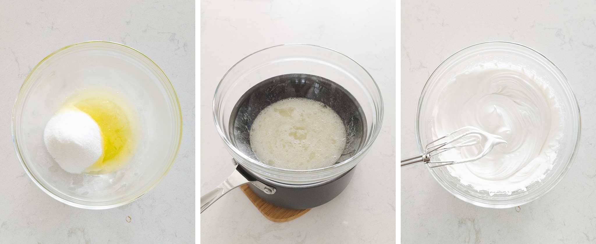 Heating and whipping egg whites into a meringue