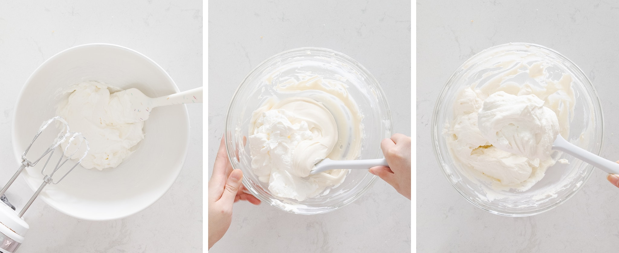 Folding whipped cream and cream cheese together