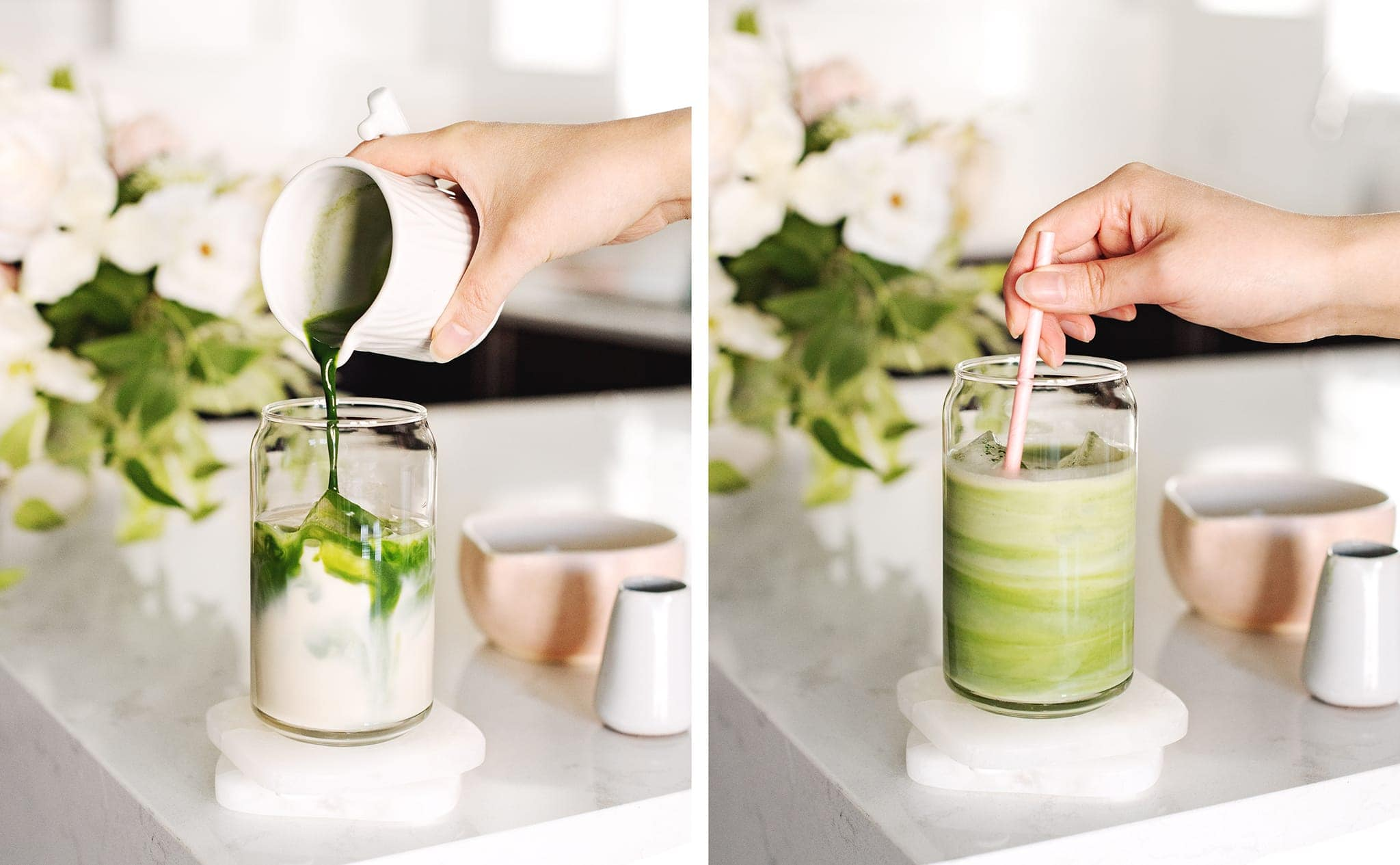 Pouring matcha into oat milk and stirring together