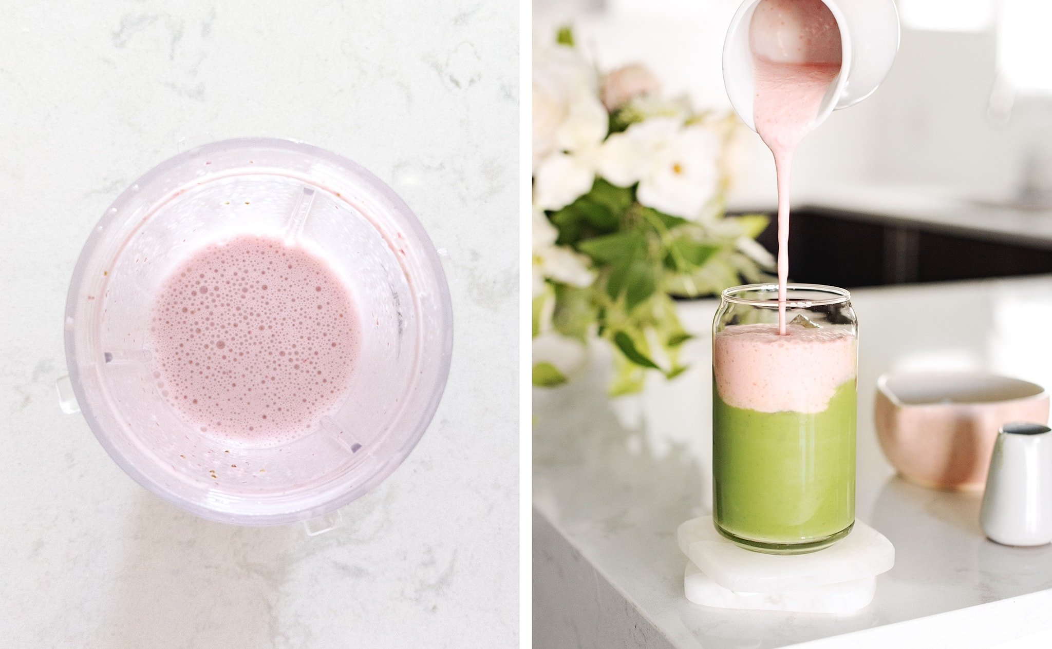 Pouring strawberry sweet cream on top of matcha latte