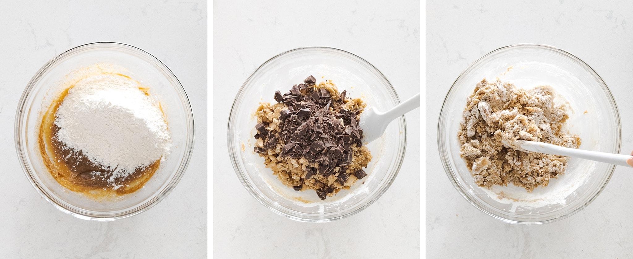 folding flour, graham cracker, and chopped chocolate into cookie dough