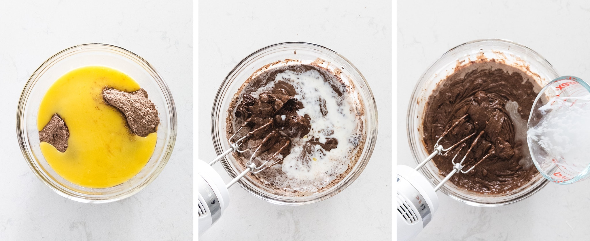 Mixing chocolate cake batter in bowl