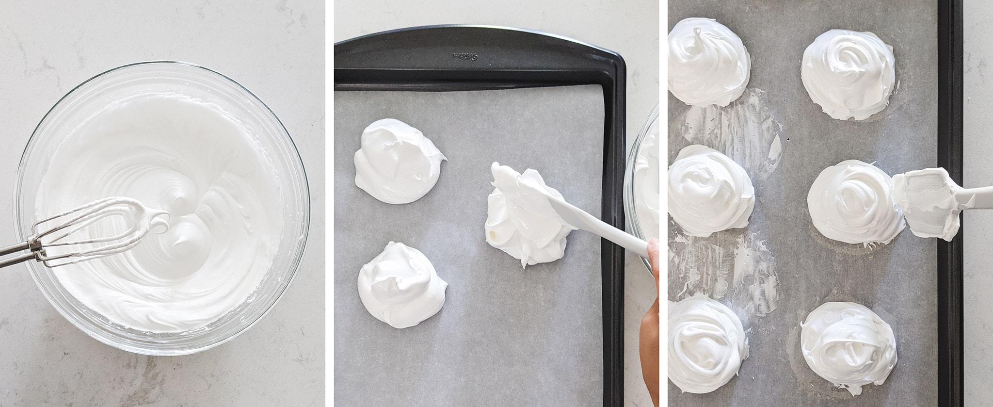 Shaping mounds of meringue on baking sheet