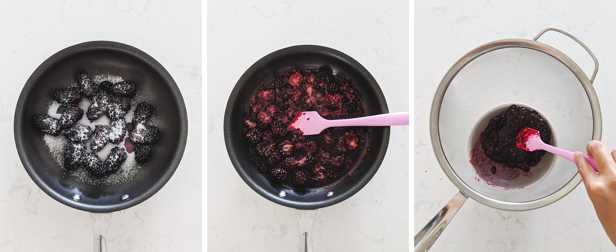 Cooking down blackberries into sauce in a pan