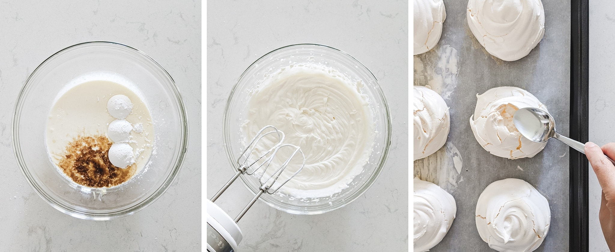 Making whipped cream to fill pavlovas