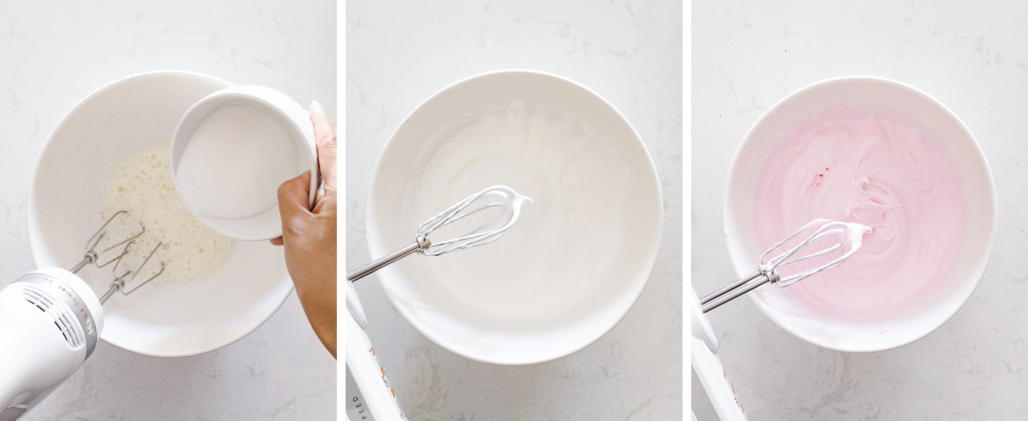 Whipping egg white meringue in a mixing bowl