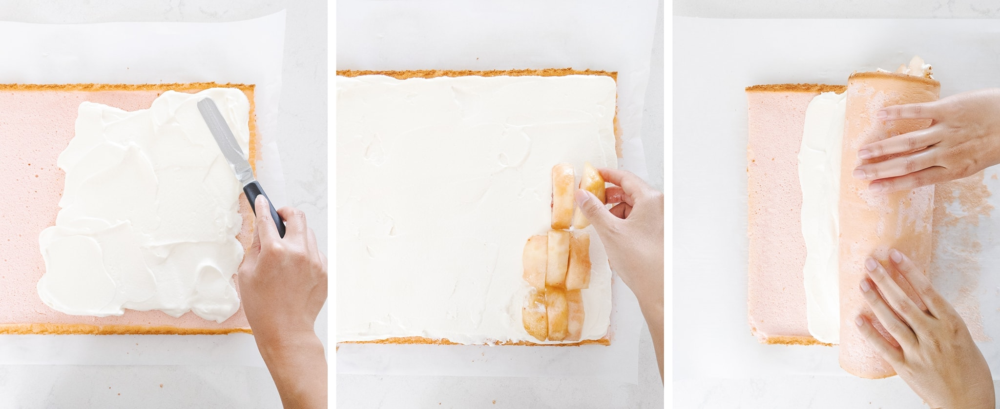 Assembling and rolling a white peach swiss roll with whipped cream and peach slices