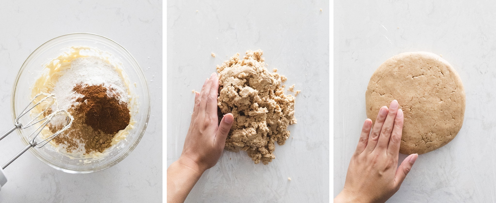 Pressing together tart dough into a disc