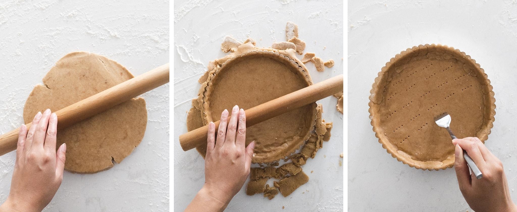 Rolling out shortcrust tart dough into tart pan