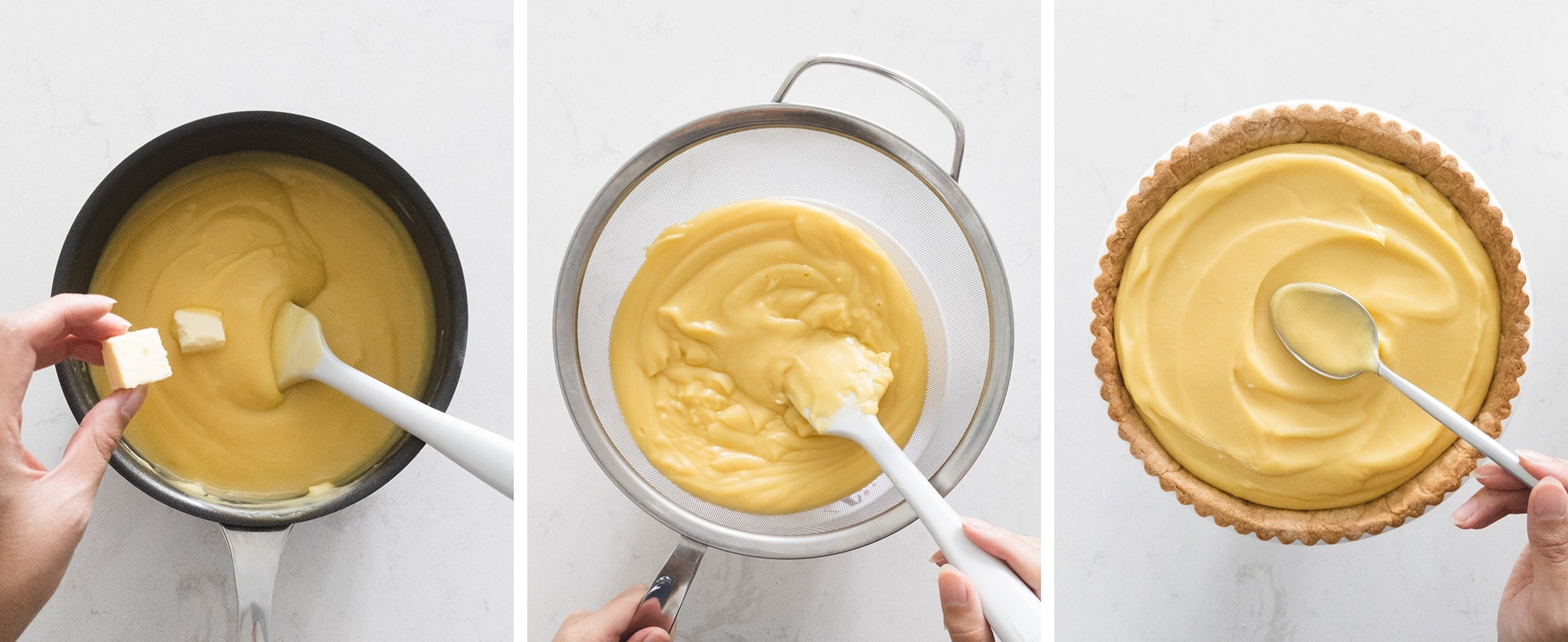 Making custard and filling baked tart shell