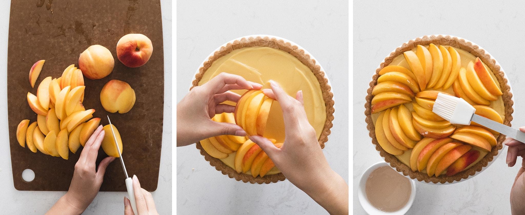 Arranging peach slices on top of custard tart
