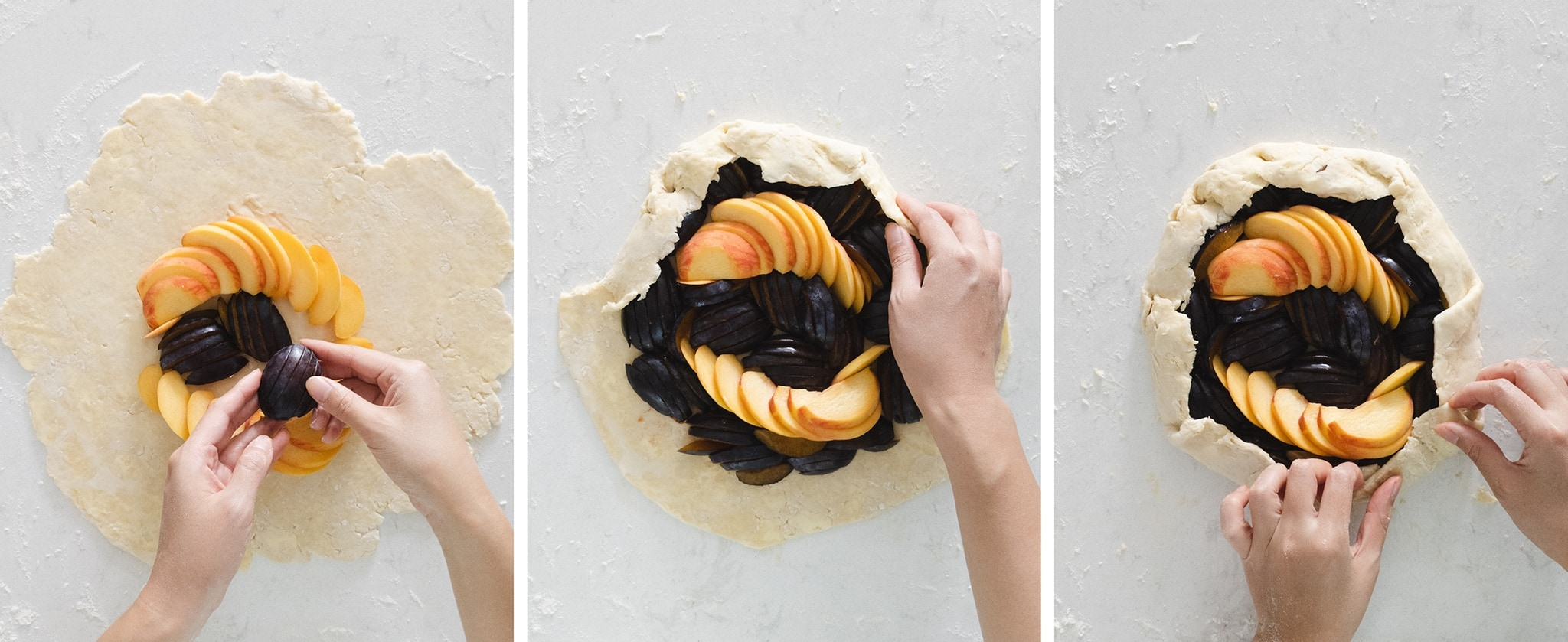 Arranging fruit in the middle of galette dough